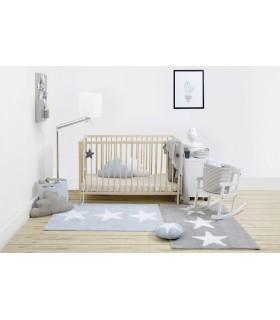 Manta de punto Bebé Little Stars - gris -blanco - 90x120 cm