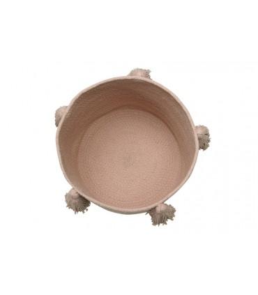 Cesta a rayas - rosa y blanco - diám. 30 cm